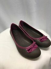Crocs Brown Ballet Flats Size 8 Raspberry Pink Trim & Bow Womens Medium