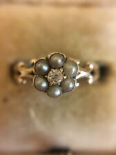 Victorian Antique Yellow Gold 18ct 18k Pearl And Diamond Cluster Ring Flower