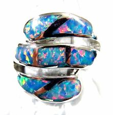 "Sterling 925 Silver SF Size 9 Ring Large Gorgeous Rainbow Lab Fire Opal 3/4"" W"