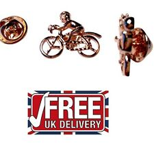 LAPEL PIN BADGE Racing Bike bicycle cycle cyclist riders Rose Gold Plated  PB010