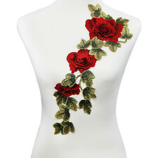 1pc 3D Red Rose Applique Embroidery Flower Patches Lace Motif Venice Clothes