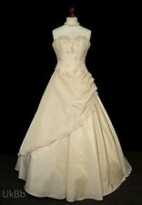 Stevies Gowns Champagne Wedding Dress Huge Train Corset & Skirt 14 528