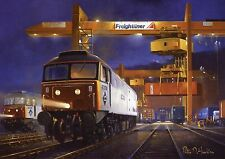 Freightliner Brush Class 47 4736 47301 in Container Depot with crane blank card