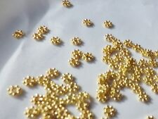 100 x Gold Plated Metal Spacer Beads: AA146 Flower