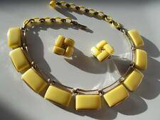 LISNER Vtg YELLOW Thermoset or glass rectangle NECKLACE EARRINGS Celluloid chain