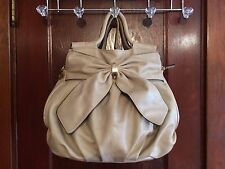 Trendy Big Beige CALL IT SPRING Crossbody Shoulder Bag Purse With Bow Detail