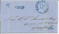 1862 Havana Trinidad Blue Cover to New York Baltimore MD - Mailed on Ship w/ 5*