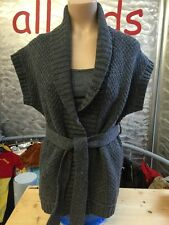 H&M Strickjacke Strickweste Grau Grob Strick Waffelmuster Wolle Camelhaar Gr S