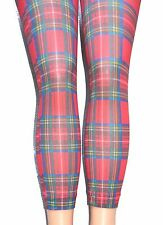 Red Tartan Footless Tights S/M opaque print Plaid Festival Goth Punk