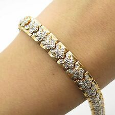 925 Sterling Silver Gold Plated Real Diamond Wide Link Bracelet 7""
