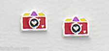 New Solid Sterling Silver Color Camera Children Stud Earrings Enamel Studs 4mm