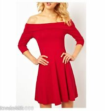 Solid Casual Party Clubwear Off Shoulder 3/4 Sleeve Flared Skater Dress MEDIUM