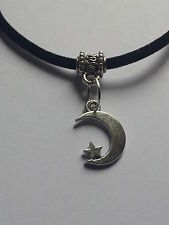 "MOON AND STAR  CHARM ON BLACK LEATHER 3MM VELVET CORD  17"" CHOKER NECKLACE."