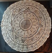 "ANTIQUE VTG. ITALIAN All RETICELLA LACE  30""Tablecloth/Topper Gorgeous!! (#84)"