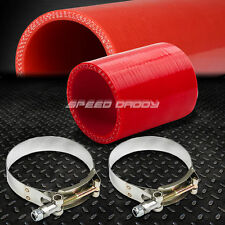 """3.5"""" 4-PLY TURBO/INTAKE/INTERCOOLER PIPING SILICONE COUPLER HOSE+T-CLAMP RED"""