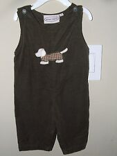 Boutique Collection 6m Brown Corduroy Dog Applique Longall Romper Puppy Church