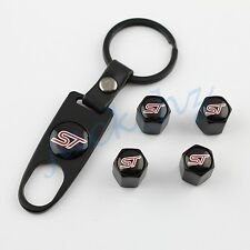 BLACK Wheel Tire Tyre Valve Cap ST Car Styling Accessories Key Chain FOR Ford