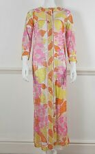 EMILIO PUCCI FOR FR Vintage Orange Long Sleeve Button Front Robe Housecoat
