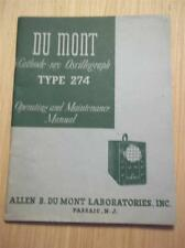 Du Mont Operating/Maintenance Manual~274 Cathode-Ray Oscillograph~Service