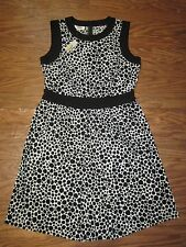 "Talbots Black Polka Dot Sleeveless Black Crewneck Trim Dress ""Women 14P $118.00"""
