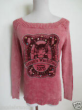Pullover VIVIAN CHAN ca S mit Baumwolle Katze rosa rot wash out /IP4