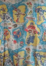Vintage Transformers Twin Flat Sheet 1984 Craft Quilt Fabric