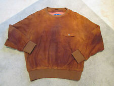 VINTAGE Ralph Lauren Polo Leather Sweater Adult Size Large Brown Rayon 90s