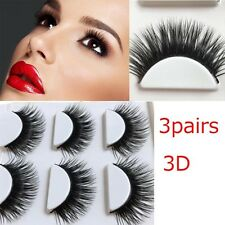 3Pairs Natural Bushy Cross False Eyelashes Thick 3D Fake Eye Lashes