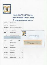 FRED GRAVER LEEDS UNITED 1924-1925 EXTREMELY RARE ORIG HAND SIGNED CUTTING/CARD