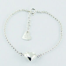 Genuine 925 Sterling Silver Puffed Heart Love Bracelet Rollo Chain Adjustable