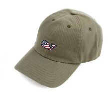 Vineyard Vines Front Whale US Flag Baseball Hat Cap $28 Army Green W