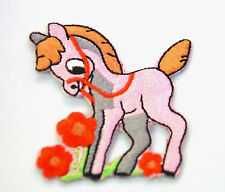 PINK PONY RED BRIDAL FLOWERS Embroidered Sew Iron On Cloth Patch Badge APPLIQUE
