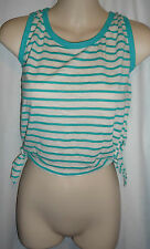 Wet Seal turq striped tie sides cropped crop tank top shirt blouse Size L or XL