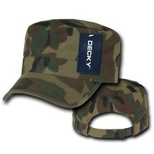 Forest Camo Solid Army GI Washed Military Cadet Patrol Castro Cap Caps Hat Hats