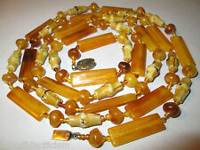 """AUTHENTIC ANTIQUE BALTIC AMBER tested 38.9g EGGYOLK BUTTERSCOTCH  54"""" Necklace"""