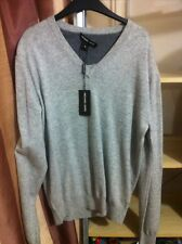 BNWT MICHAEL KORS Mens Grey V Neck Long Sleeve Pure Cashmere Jumper.Size Medium