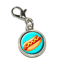 Hot Dog of Awesomeness - Antiqued Bracelet Pendant Charm with Lobster Clasp