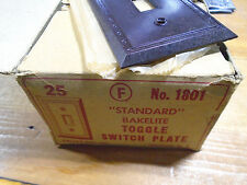 VINTAGE BAKELITE TOGGLE SWITCH PLATE COVER - BROWN NOS MID CENTURY!  (1400-1801)