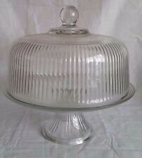 Vintage Clear Ribbed Glass Pedestal Cake Stand, Dome Lid, Dessert Anchor Hocking
