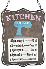 """11"""" Retro Vintage-Style Chalkboard-Look Kitchen Rules Wall Sign Plaque"""