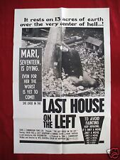THE LAST HOUSE ON THE LEFT * 1972 ORIGINAL MOVIE POSTER 1SH WES CRAVEN HALLOWEEN