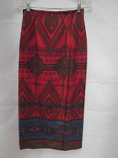 vtg Jones NY South Western Indian red 100% silk lined wrap straight skirt 4 MINT