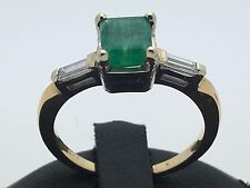 New 14K Two Tone Gold Square Emerald Accent Ring with Baguette Diamonds Size 6.5