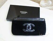 Chanel Beauty Makeup Trousse Bag Iphone Pouch Clutch Black Velvet  With Box