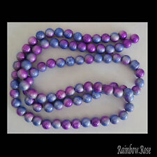 85 beads 10mm Drawbench Glass Round MULTI Lilac & Blue 1 strand SALE