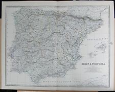 1875 EXTRA LARGE ANTIQUE MAP - SPAIN & PORTUGAL