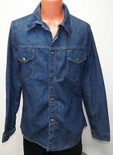 vtg RICH BLUE Brass Snap 70s Jean Shirt-Jac MED work jacket Bell-Bottoms Logo