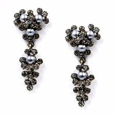 NEW ZARA ELEGANT GREY PEARLS RHINESTONES DROP DANGLE EARRINGS - NEW