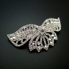"Large 3-1/2"" Arched Rhinestone Crystal Tiara Ponytail Holder Barrette Hair Clip"