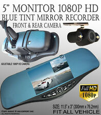ICBEAMER 1080p Dash Cam Front Back Video Recorder Rearview Mirror 300m TG10706